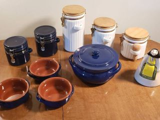 Cobalt Blue Bean Pot   3 Bowls  Hinge lid Canisters and Kitchen Witch Vase