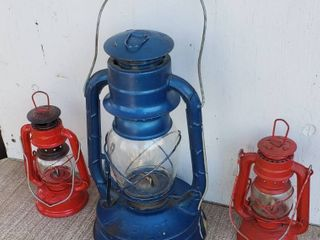 Dietz Air Pilot lantern No  8  14 in  tall  and 2 small red Chinese made Metal lanterns  7 5 in  tall