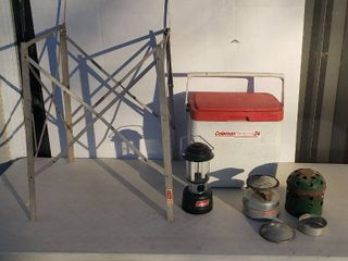 Coleman Fold Stand  Coleman Personal 24 Cooler  Coleman Battery Operated lantern and Japanese Heater Cooker