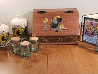 Sunflower Kitchen Items   Wood Bread Box  Canister Set  Cookbook  Pitcher  and Jars