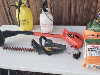 B D Trimmer  B D Hedge Trimmer Fertilizer and 2 Sprayers