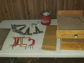 2 Wood Drawers  15 5 x 23 x 4 5 in  tall  Wood Pieces  lg  Metal Hinges  Nails  and Hooks