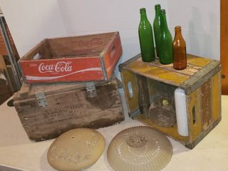 VINTAGE Wood Ammo Box  Hi land Wood Crate  Coca Cola Wood Crate   OKC  Vintage Bottles and Glass light Covers
