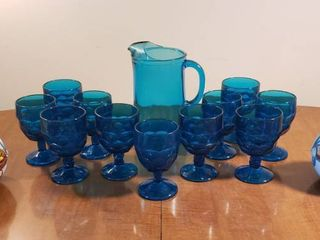Sapphire Blue Honeycomb Georgian Goblets   Pitcher Set and 2 Metal Chefs by Bristol Ware 1980