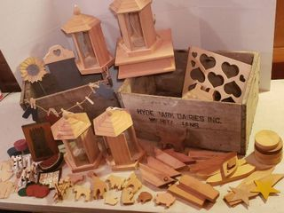 Wood Crates  Wood Craft Project Pieces and 4 Bird Feeders