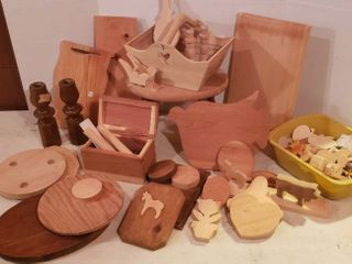 Wood Craft Project Pieces and 4 leg Milk Stool