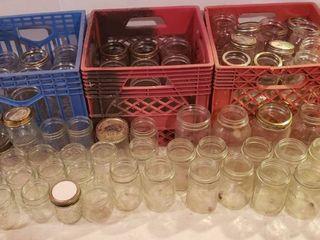 Canning Jars   includes 3 Plastic Milk Crates