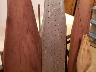 3 Vintage Ironing Boards and a Bag of Wood Cloth Pins
