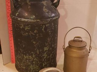 Steel Milk Can  liquid 4 Qt  Pail w lid and Pail lid