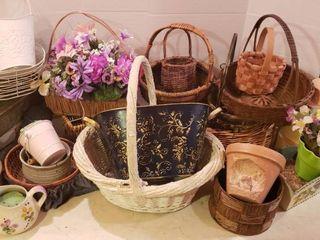 Basket Decor  Flower Pots  Faux Flowers and Cardboard Barrel   40 in  tall