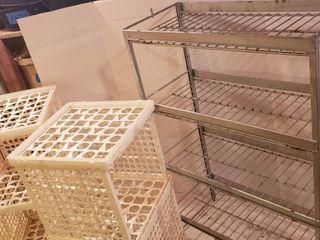 Metal 4 Shelf Unit  23 x 11 x 34 in  tall  and 2 Plastic Cube Storage units   13 x 13 x 26 in  tall