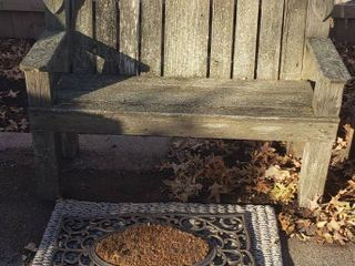 Wood Birdhouse Design Bench  47 x 20 x 40 in  tall and 2 Door Mats