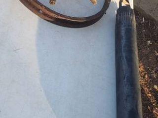 Vintage Metal Well Bailer   Pulley and Old Metal Rim   Hub of Wood Spoke Wheel