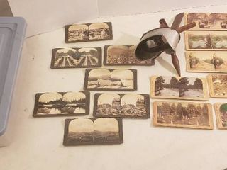 Vintage Hand Held Monarch Stereoscope Viewer  missing one of the wires to hold cards  w Cards   Tote Included