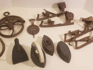 Vintage Metal Items  Ice Skates  Rope Pulleys  Sad Irons  Flue Cover and Horseshoe