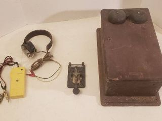 Western Electric Phone Box w Interior parts  Morse Code Clicker  and 2 pc  Phone Test Set