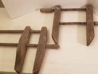 2 large Vintage Wood Clamps   25 x 18 x 2 5 in
