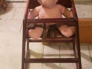 Wood Highchair   20 x 20 x 29 5 in  tall   stuffed bear included