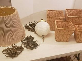 Hobnail Milk Glass Globe Hanging lamp  works  2 Extra Chain   Wire for hanging lamps  Nestling Baskets and Tan Pleated lamp Shade