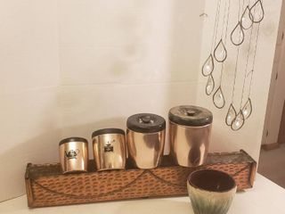 Copper Rectangular Planter  36 x 5 x 6 in  tall  4 Pc  West Bend Copper Colored Canisters  Crock Style Pot and Crystal Wind Chime