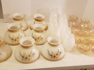 7 Hand Painted Milk Glass Shades  9 Frosted Chimneys  and 8 Amber Glass Globes