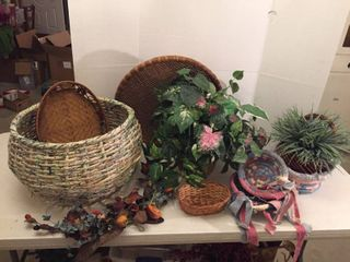 Wicker and Cloth Baskets  Brass Pot  and Greenery