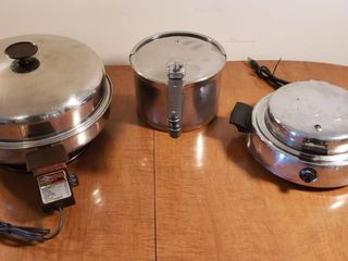 West Bend Sensa Temp Elec  Skillet  Revere Pressure Pot and Dominion Waffle Maker  electric appliances powers on