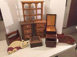 Custom Wood Decor  Storage Cubbies   Boxes  Wall Shelf    Cat Door Stops