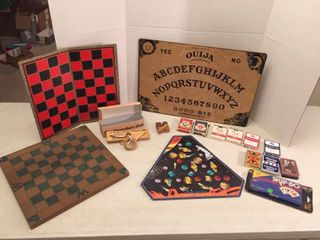 2 Checker Boards  Ouija Board  Wood Teaser Games  Puzzle  Decks of Playing Cards