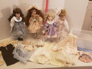 Porcelain Dolls and Doll Clothing   Tote Included