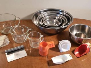 Stainless Steel Mixing Bowls  Glass Measuring Cups  Plastic Measuring Cups  Funnels   Scoops  Mini tart Shaper and S S Dough Cutter