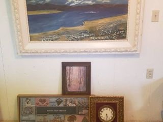 Framed Art  Painting  50 x 28 in  Calender Tapestry  34 x 14in  Clock  15 x15 in  and Print  12 x 16 in
