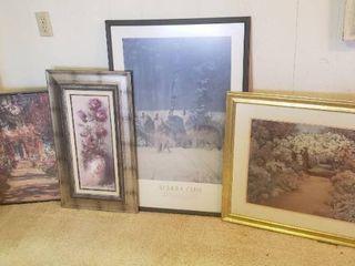 Framed Art  Wolf Poster 25 x 38 in  Arbor Garden Print  31x 26 in  Pink Rose Print  17 x 29 in  and Monet Poster  36 x 24 in
