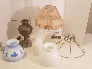 2 Electrified Oil lamps  both work  2 Glass Shades  1 Wire Shade and 3 Chimneys