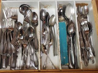Drawer full of Stainless Steel Silverware   bring box to pack out   drawer not included