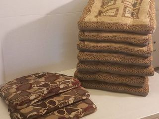2 Sets of Chair Cushions   7 Palm Tree Design and 3 Abstract Design