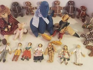 Americana Cloth Dolls and Animals