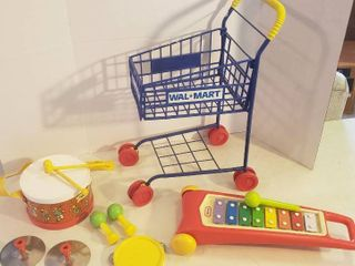 Wal Mart Toy Shopping Cart  little Tikes Xylophone and Fisher Price Marching Band Set