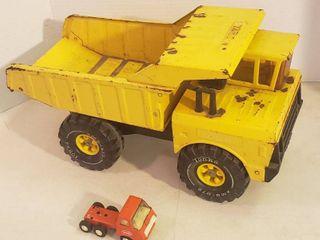 Vintage Metal Tonka Trucks   Yellow Dump Truck   Orange Hauler Truck