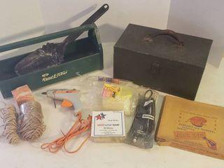 Metal Tool Caddy  Metal Tool Box  Ash Shovel  Glue Gun Sticks  Twine  Stencils and Electric Craftsman Engraver