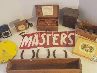 Vintage Seth Thomas Clock  works  Vintage Sta Put Advertising Kit  Wood Boxes  RR Ties  HorseShoes  and Saw Blade Clock
