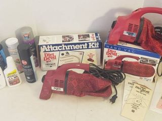 2 Dirt Devil Hand Vacuums w 1 Attachment Kit and Carpet Cleaning Products