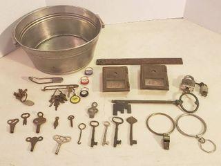 Vintage Keys  2 Vintage Mail box Fronts  2 Padlocks w Keys and Stainless Steel Tub