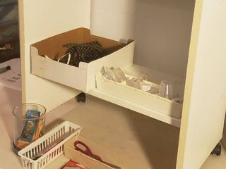 White 2 Shelf Particle Board Cart on Casters  25 x 15 x 28 in  tall  and Household items
