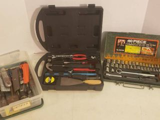Household Tool Kit  Buffalo 40 pc  Combination Socket Set  and Chisels  Cutters