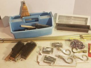 Tote of Brush   Sweeps  Vent Covers  Wire Brushes and Curtain Rods