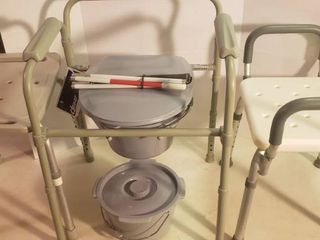 Drive Folding Commode w extra Pot  Sight Impaired Walking Stick  and 2 Shower Chairs