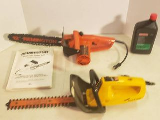 Remington 12 in  Electric Chain Saw and Disston Shrub   Hedge Trimmer  both work  and Bar  Chain Oil
