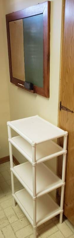 Wood Framed Chalkboard Corkboard Combo   30 x 26 in  tall and White Plastic 4 Tier Shelving Unit   17 x 12 x 26 in  tall