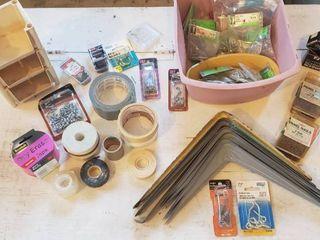 Shelf Braces  Screws  Tape Rolls  Bin Organizer  Hooks and Nails